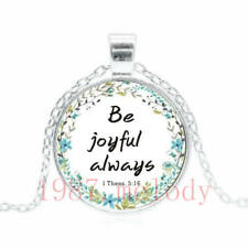 New charm Cabochon Glass Necklace Silver pendants(be joyful always quotes