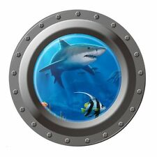 Shark Ocean View Wall Sticker 3D Porthole Window Kids Room Home Decor Art LW