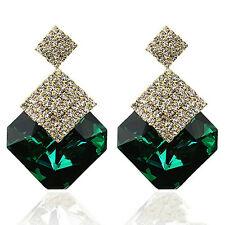 Chic Fashion Jewelry Square Crystal Earings Luxury Sparkling Big Drop Earri XJ