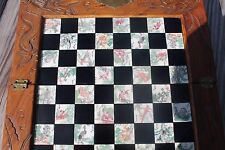 Vtg Chinese or Japanese 32 Pc Wooden Folding Chess Board with Drawers
