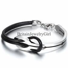 Men Women Half Cuff Love Infinity Black Leather Stainless Steel Bangle Bracelet
