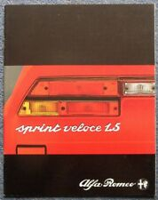 ALFA ROMEO SPRINT VELOCE 1.5 Car Sales Brochure Apr 1980 #1082