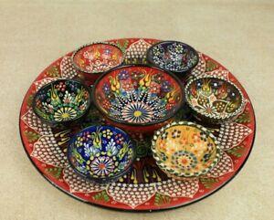 Turkish Handmade Ceramic Bowl Set 8 Piece Serving Handmade Pottery