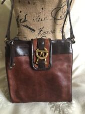 Tignanello Brown Crossbody Purse Organizer Bag Leather Shoulder Bag