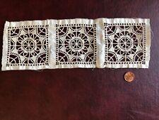 Trio of Vintage reticella needle lace inserts sew craft