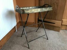 Industrial Vintage Metal Folding Butlers Serving Tray Side End Table Stand 68cm