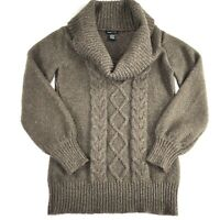 BCBG MAXAZRIA Brown Cream Marble Cable Knit Heavy Brown Cowl Neck Sweater Size M