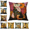 """18"""" Square Vintage Cats Pillow Case Cover Sofa Waist Cushion Covers Home Decor"""