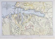 OLD ANTIQUE MAP PLAN SEIGE of SEBASTOPOL CRIMEA WAR 1854 - 55 c1890's by WALKER