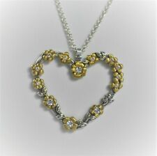 """Brighton NECKLACE NWT 18"""" LONG HEART & FLOWERS"""