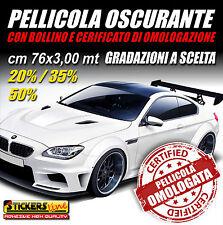 cm 76x3 mt Pellicola Oscurante OMOLOGATA APA vetri auto fumè 20 35 50% a scelta
