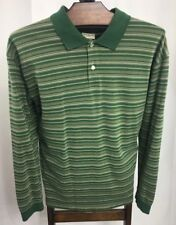 9473296d L.L. Bean Men's Long Sleeve Green Striped Polo Shirt Sz X-Large Reg EUC