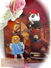 Vintage Toy Knitting Pattern For A Teddy, Doll & Panda In A Hat. 3 Nursery Toys!