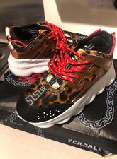 NEW VERSACE Chain Reaction Leopard Shoe Sneakers 8US 7.5UK 41EU