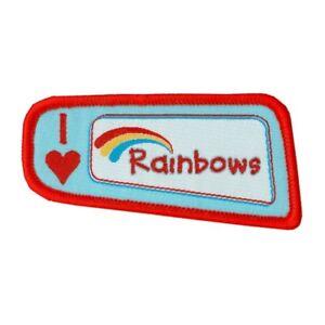 Rainbows I Love Rainbows Woven Badge. OFFICIAL SUPPLIER.