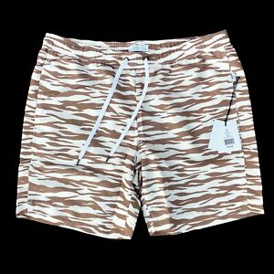 New Onia Charles Zebra Stripe Men's Size XL Swim Trunks Shorts Brown Beige
