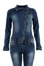 Womens Stretch Jeans Skinny Fit Denim Blue Zipped Jumpsuit SJ129
