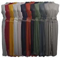 Womens Ladies Long Kimono Open Abaya Sleeveless Lace Belted Cardigan Crepe Pleat