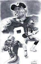 Tim Brown of L.A. Raiders poster sketch Art