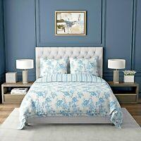 Duvet Cover Set Blue White Floral Striped  with Pillowcases 300TC Cotton Rich