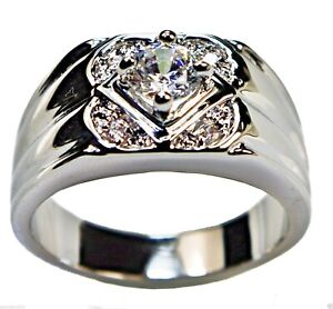 2 Carat cz Ring Mens Touch Of Class 18k White gold overlay size 8 T45