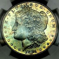 1881-S RAINBOW TONED MORGAN SILVER DOLLAR- NGC MS65  WITH OUTSTANDING GEM COLOR