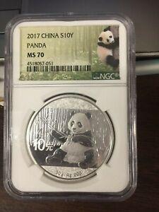2017 China Silver Panda 30 g 10 Yuan - 1 Oz NGC Mint State 70
