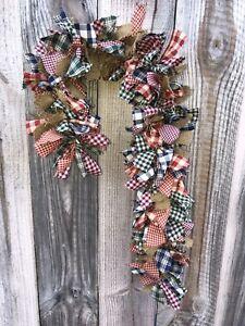 red green navy burlap homespun mix primitive rag candy cane Wreath