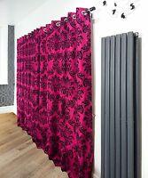 Pair of flock FULL Damask fully lined eyelet curtains HOT PINK/black 4 SIZES