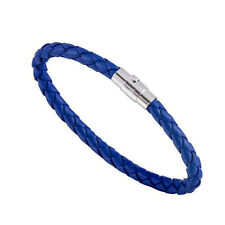 Vintage Men's Leather Wrap Braided Wristband Cuff Punk Women Bangle Bracelet Blue