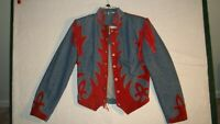 VTG Diamond Leathers Snap Button, Fringe Western Red Suede Denim Jacket Size L