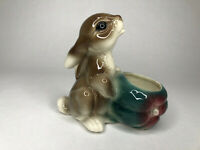 Vintage Pottery Rabbit Bunny Planter Ceramic Glazed Japan