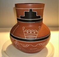 "Vtg Leopolde de Mexico Aztec Mayan Red Clay Pottery Folk Art Vase / Jug 8 1/2"" T"