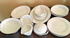 noritake, envoy, 6325, white, platinum trim & verge, 17 pc china set, 3 settings