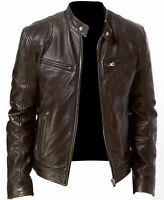 Men Premium Quality Brown Leather Vintage Slim Fit Biker Jacket Racer Motorbike