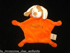 Doudou plat Chien marron beige blanc orange Babynat' Baby Nat' 4 noeuds 21 cm