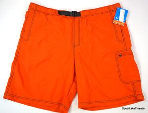 Men's XL Columbia Omni-Shade Swim Trunks Orange AN4366-805 NWT