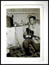 Original 1957 Photo Showing Man Playing Guitar And Harmonica