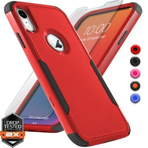 For Apple iPhone X Xs XR Max 10 Shockproof Bumper Case Cover + Screen Protector