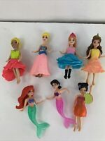 Disney Princess Polly Pocket Doll Lot of 7 Ariel Cinderella Belle Anna