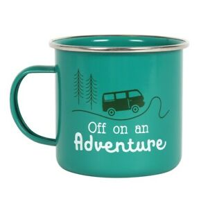 'Off On An Adventure' Green Enamel Mug, Classic Metal Cup - Perfect For Camping!