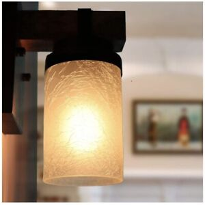 Frosted Glass Lamp Shade With Crackle Finish, Cylinder Light 1-5/8-inch Fitter