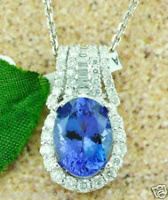 4.22 ct 18k Solid White Gold  Ladies AAAA Natural Tanzanite & Diamond Pendant