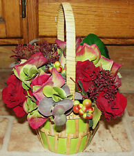 "10"" x 7"" Lime Green Mini Basket Silk Red Velvet Sweetheart Roses Petite Bouquet"