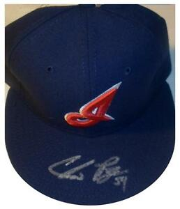 SIGNED INDIANS CHRIS PEREZ AUTOGRAPHED GAME HAT W/PIC