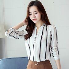 Elegant Women Autumn Long Sleeve Floral Print V Neck Chiffon Blouse Shirt Tops
