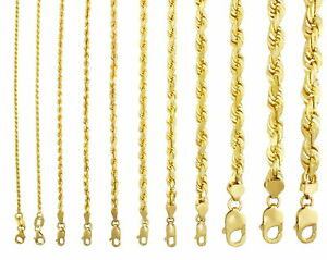 """14K Yellow Gold Solid Rope Chain Necklace Bracelet 1mm-10mm Mens Women (7""""- 30"""")"""