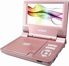 "Curtis DVD7014 Portable Rechargeable DVD Player Pink LCD 7"" Screen & Carry Case"