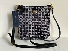 NEW! TOMMY HILFIGER BLACK NATURAL CROSSBODY SLING MESSENGER BAG PURSE $78 SALE