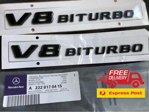 Mercedes Benz V8 BITURBO Side Fender Badge Sticker Emblem GLS350 GLS63 C63 S AMG